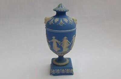 Wedgwood Jasper Ware Pale Blue  Antique Dancing Hours Covered Vase  C1896 A/f • 95£