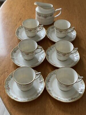 Noritake Ivory China English Flowers Tea Set 6 Cups & Saucers And Milk Jug • 9.99£