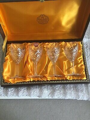 Webb Continental Hand Cut Glass.Set Of 4 Glasses Boxed • 25£