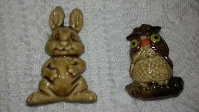 2 X Vintage Large Wade Whimsies Archimedes The Owl & Rabbit No Stamps On Them • 25£