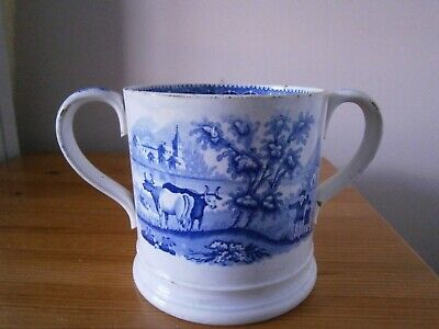 19th Century Large Pottery Blue And White Loving Cup Castle And Landcapes • 25.99£