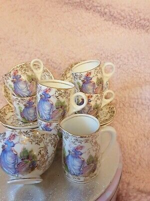 22 Kt Gold Fine Bone China  PINKIE  6 Cups And Suacers Set. With A Milk Jug And • 6.50£