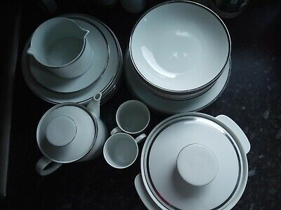 Thomas Germany 22 X China Pcs Medallion Tea Set+Dinner Set Platinum Band • 99£