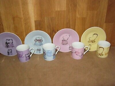 Boxed Set Of Four Coffee Cups & Saucers Various Bags Design • 6.99£