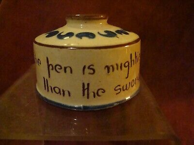 Torquay Motto Ware Drum Inkwell Inscribed ,the Pen Is Mightier Than The Sword • 5.99£