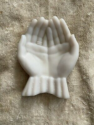 Vintage White Glass  Double Hand Open Trinket Marked On Bottom  • 33.11£