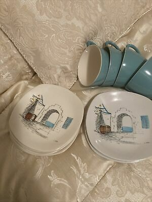 Vintage Midwinter Cannes Hugh Casson Cups And Saucers 1950s Retro • 25£