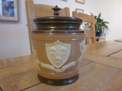 Excellent Stoneware Doulton Tobacco Jar With Coat Of Arms & Egyptian Figures • 9.99£