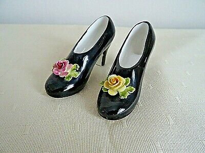 Vintage Cora China Staffordshire Pair Small Black Ceramic Applied Roses Shoe Orn • 3£