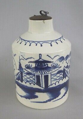 Pearlware Blue Painted Tea Canister, Pagoda & Fence. C.1790 • 46£