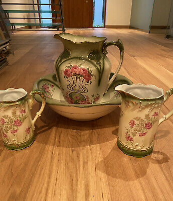 A Four Piece Vintage Wash Bowl And Three Jugs. • 38£