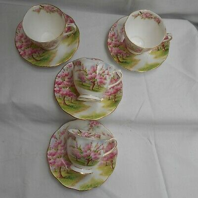 Royal Albert Blossom Time 4 X Cups And Saucers (af) • 9.50£