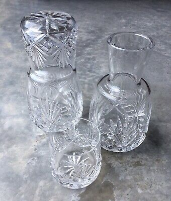 Pair Of Cut Glass Lidded Water Carafes • 19.99£