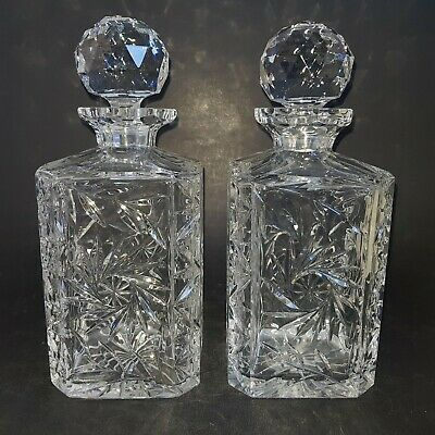 Two Square Cut Glass Decanters :D5 • 24.99£