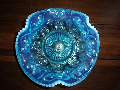 Fenton? Blue Opalescent Glass 7.5  X 2.75  Bowl Candy Nut Dish • 29.25£