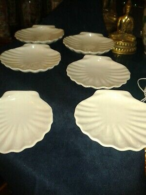 6 X White China Oyster Dishes  • 6.99£