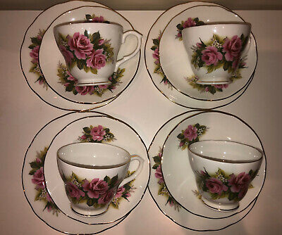4 Duchess Pretty Pink Roses Design Bone China Cups And Saucers • 20£