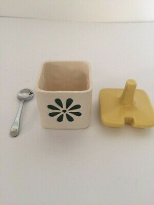John Clappison Springtime Square Mustard Pot With Lid And Spoon • 5£