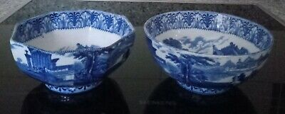 Pair Of Cauldon Flow Blue And White Bowl With Chariot Decoration  • 17£