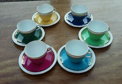 Foley Bone China Set Of 6 Small Cups And Saucers, Perfect • 36£