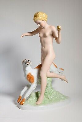 Royal Dux: Nude Girl Holding A Ball Running With Borzoi Hound 36.5 Cm Pristine • 295£