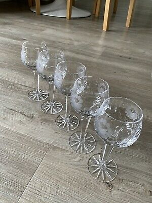 5 X Vintage Cut Glass Lead Crystal Etched Wine Glasses Goblets • 12.50£