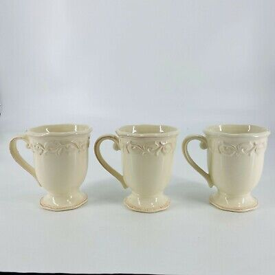 JC Penny Chris Madden For Home Collection Cream Distressed Pedestal Mugs Lot • 28.62£
