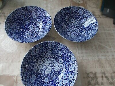 3 Calico Burleigh,staffshire,3 Bowles 6.5 Inch Wide And 2.5 Inch Deep • 8£