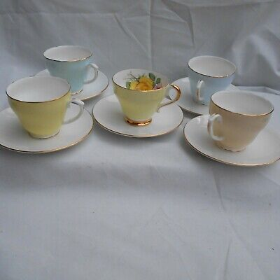 Vintage Mix Tea Cups Duchess/Imperial 5 X Tea Cups Adderley Saucers Server Plate • 6.99£