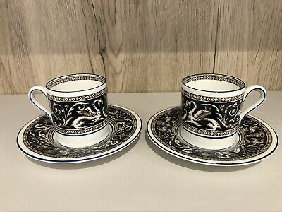 Pair Of Wedgwood Florentine Dark Blue (W1956) Coffee Cans And Saucers • 30£
