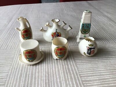 A Collection Of 6 Crested Ware Items Including  Grafton  & Arcadia • 3.99£