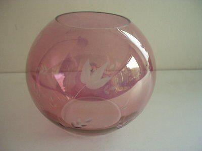 Amethyst Glass Bowl / Vase ~etched Decoration ~stylish • 8.99£