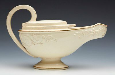 ANTIQUE CREAMWARE ALADDIN LAMP SHAPED SAUCE BOAT C.1800 • 360£