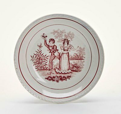 Antique Puce Decorated Courting Couple Pearlware Plate 19c. • 55£