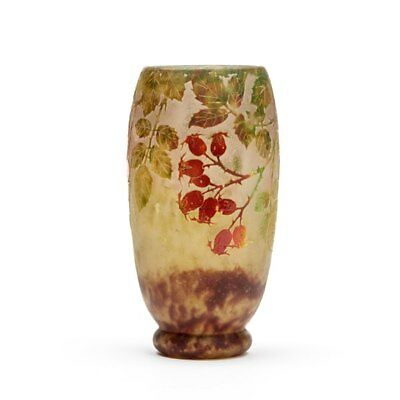 Daum Nancy Art Nouveau Rosehip Cameo Glass Vase C.1900 • 6,500£