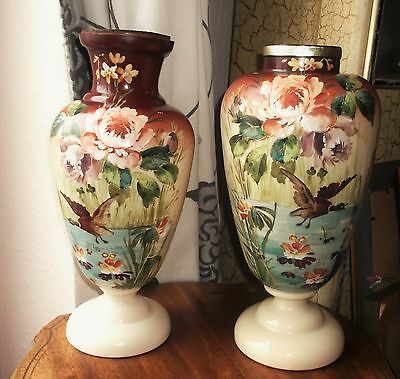 2 Large Antique Opaline Glass Vases Handpainted Water Birds Drilled For Lamps • 120£