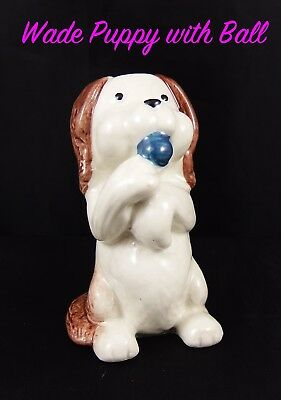 Unusual Cute Wade Pottery Sitting Puppy Dog With A Ball • 9.99£