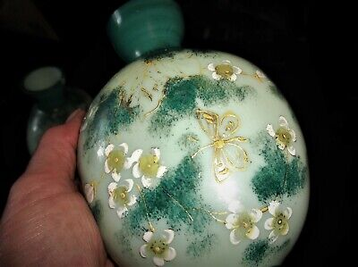 Antique Pair Of Green Satin Oval Glass Flagon Vases Handpainted Floral Design 6  • 40£