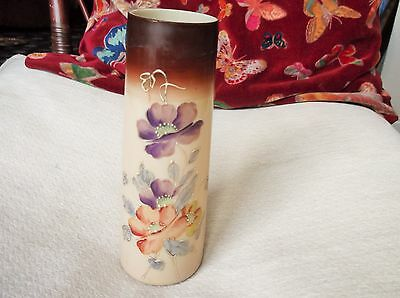 Antique Opaline Beige Glass Vase Handpainted Flowers Light Gilding Brown Rim • 25£