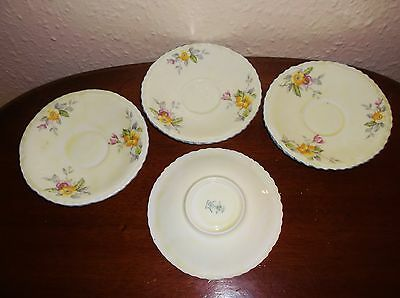 Vintage Crown Staffordshire 4 X Deco Saucers Creamy With Flowers &  Blue Rim  • 2.50£