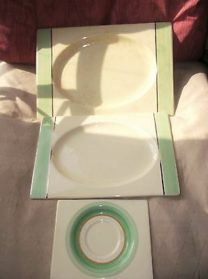 Royal Staffordshire The Biarritz 3 X Platters Green 784849 6894 1934 / 1938 Deco • 40£