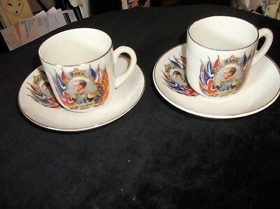 Pair Of Vintage Gilded Small Cups & Saucers Coronation 1937 Edward Bold Flags • 16£