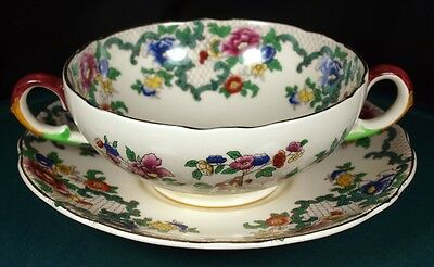 Royal Cauldon Victoria Soup Coupes & Saucers - In Very Good Condition • 14.99£