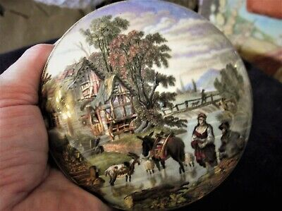Antique Collectable Pratt Ware Pot Lid Rural Cottage By Stream Picture Unframed • 15£