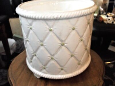 Large White Glazed Pottery Planter With Cushioned Effect Good Size • 40£