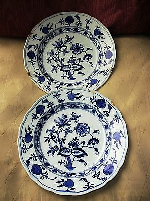Pair Antique Flow Blue Brown Westhead Moore Meissen Blue Onion Soup Bowls • 45£