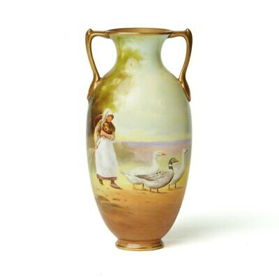 Royal Doulton Hand Painted Girl With Geese Vase C.1920 • 460£