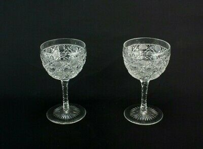 2 Wine Glasses Small Dessert Pair Port Sherry Cut Crystal Vintage 1930 English • 35£