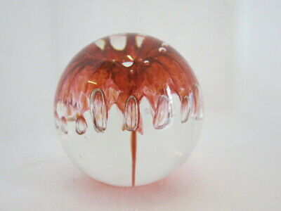 Lovely 5.5 Cm Red And Clear Glass Langham Paperweight • 18£