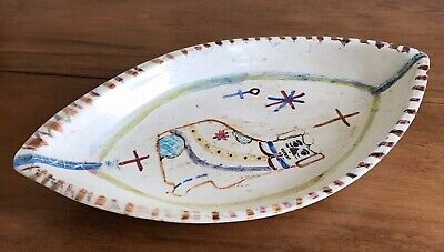 Early English Antique Prattware Pearlware Large Dish Staffordshire Dog Design • 195£